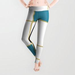 MidCentury Modern Art Aqua Gold Black Leggings