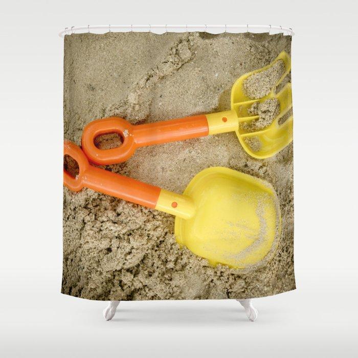 Beach Print Yellow And Orange Sand Toys Children Nursery Room Decor Shower Curtain