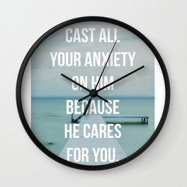 Cast All Your Anxiety On Him, Because He Cares For You - 1 Peter 5:7 - Bible Quote - Inspirational Q Wall Clock