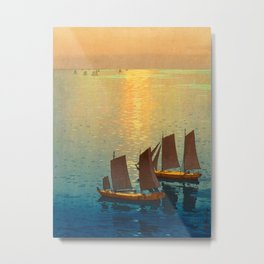Hiroshi Yoshida Vintage Japanese Woodblock Art Ocean Sunset Sailboat Orange Blue Color Hues Metal Print