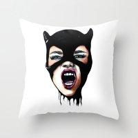 scream Throw Pillows featuring Scream by Bella Harris