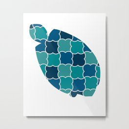 TURTLE SILHOUETTE WITH PATTERN Metal Print