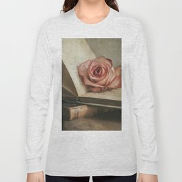 Still life with pink rose and old books Long Sleeve T-shirt