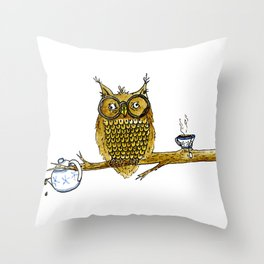 Overly Caffeinated Owl Throw Pillow