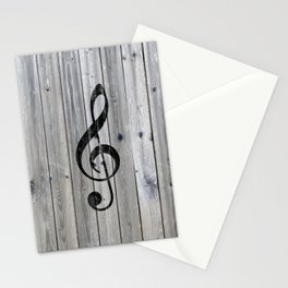Vintage black music note Treble Clef gray wood Stationery Cards
