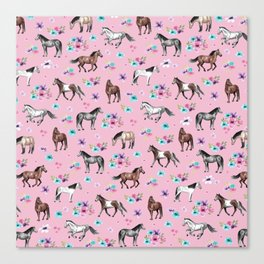 Horses & Flowers, Pink Pattern, Horse Illustration, Little Girls Room, Watercolor Canvas Print