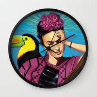 frida kahlo Wall Clocks featuring Frida Kahlo by Brad Collins Art & Illustration