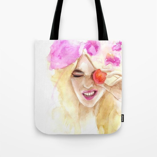 Watercolor girl with macaroon Tote Bag