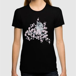 Cute Owl and Cherry Blossoms Pink Gray T-shirt