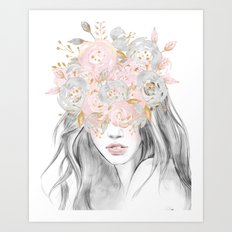 She Wore Flowers in Her Hair Rose Gold Art Print