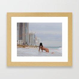 9835-SS Beautiful Naked Woman Nude Beach Condos Big Breasts Long Black Hair Sexy Erotic Art Framed Art Print