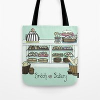 british Tote Bags featuring British Bakery by Hayley Bowerman Design