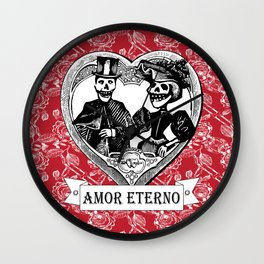 Amor Eterno | Eternal Love | Calavera Couple | Red | Black | Wall Clock