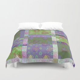 Lotus flower purple and lime green stitched patchwork - woodblock print style pattern Duvet Cover