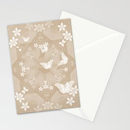 Dreamy butterflies and mandala in iced coffee Stationery Cards