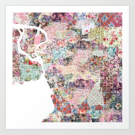 Buffalo map New York Art Print