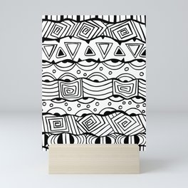 Wavy Tribal Lines with Shapes - Doodle Drawing Mini Art Print