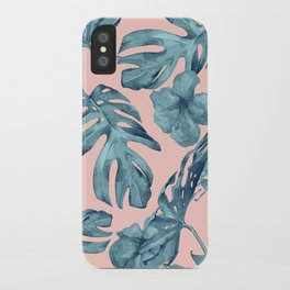 Island Life Teal on Light Pink iPhone Case