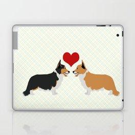 Pembroke Welsh Corgi Dogs Art - two corgis in love Laptop & iPad Skin