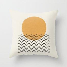 Ocean wave gold sunrise - mid century style Throw Pillow