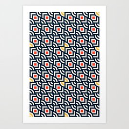 Round Pegs Square Pegs Navy Blue Art Print