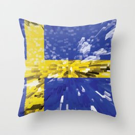 Extruded Flag of Sweden Throw Pillow