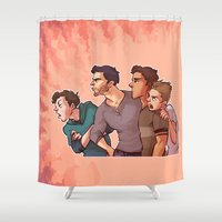 stiles Shower Curtains featuring Scott McCall Defense Squad by krakenface