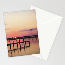 Sunset In Downtown Chincoteague II Stationery Cards