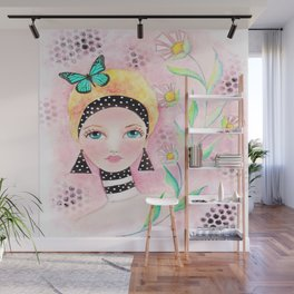 Whimiscal Girl with White Dots and Flowers  Wall Mural