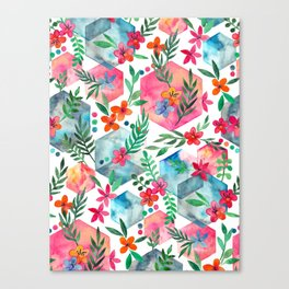 Whimsical Hexagon Garden on white Canvas Print