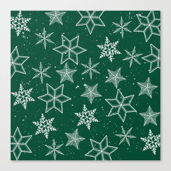 Snowflakes On Green Background Canvas Print