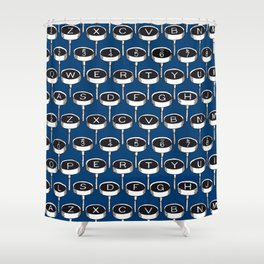Infinite Typewriter_Blue Shower Curtain
