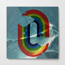 retro rainbow over the mountain Metal Print