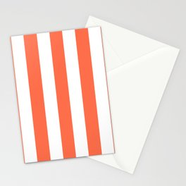 Outrageous Orange - solid color - white vertical lines pattern Stationery Cards