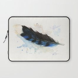 Watercolor Blue Jay Feather Laptop Sleeve