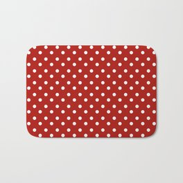 White & Red Navy Polkadot Pattern Bath Mat