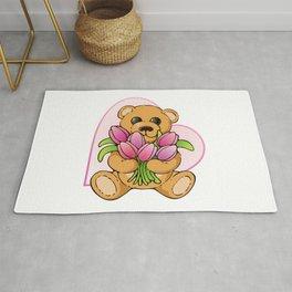 Teddy Bearing Tulips Rug