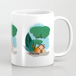 Mini House And Trees - Clover Plant Illustration Coffee Mug