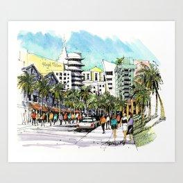 Ocean Drive, Miami Beach Art Print