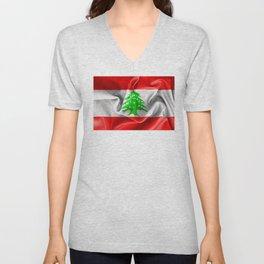 Lebanon Flag Unisex V-Neck