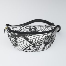 bluering octopus and boxer crab in tribal Fanny Pack