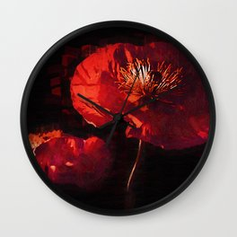 Two Deep Red Poppies Wall Clock