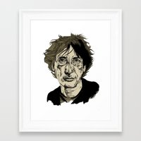 neil gaiman Framed Art Prints featuring Neil Gaiman by Andy Christofi