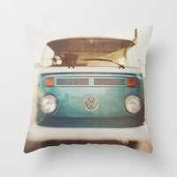 volkswagen Throw Pillows featuring Volkswagen Bus by Briole Photography