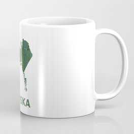 Alaska map outline Deep moss green watercolor Coffee Mug