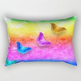 Painted rainbow butterflies Rectangular Pillow