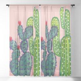 Watercolor Cactus Sheer Curtain