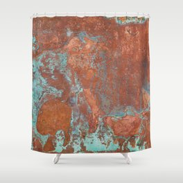 Tarnished Metal Copper Texture - Natural Marbling Industrial Art Shower Curtain