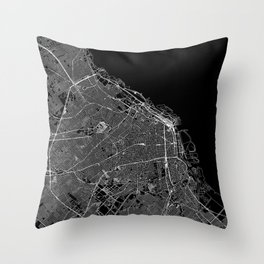 Buenos Aires Black Map Throw Pillow