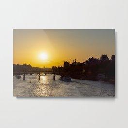Pont des arts at sunset - Paris, France Metal Print